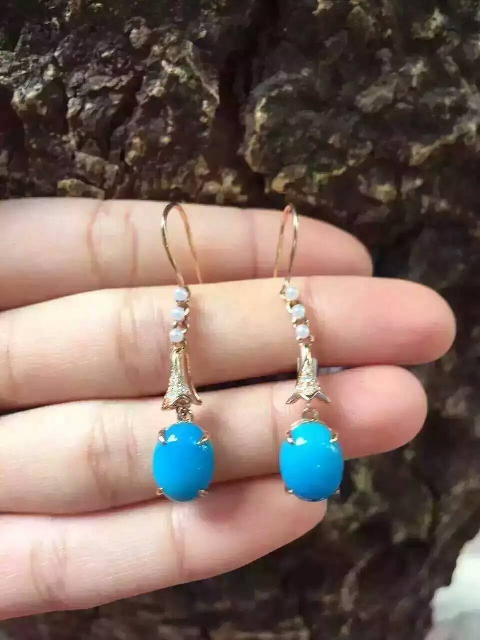 natural blue turquoise stone drop earrings 925 silver Natural gemstone earring women elegant round drop earrings for party