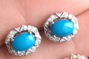 natural blue turquoise stone earrings 925 silver Natural gemstone earring women classic round earrings for anniversary