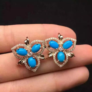 natural blue turquoise stone earrings 925 silver Natural gemstone earring women personality Fashion Clover earrings for party