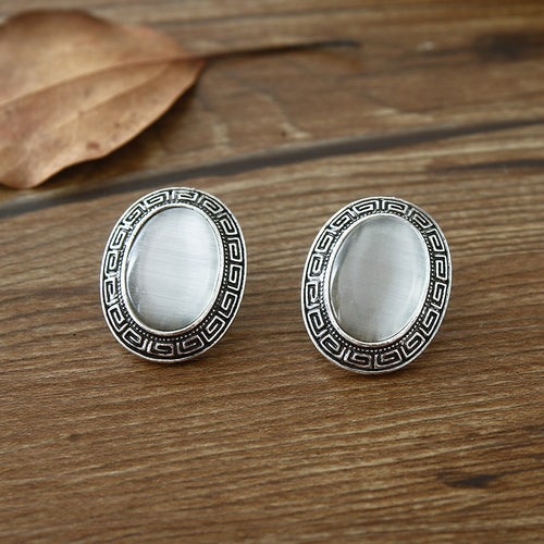 new 2017 white opals women alloy silver earrings,fashion national carve handmade jewelry freeshipping