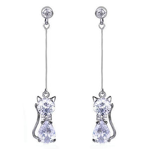one pair of Zircon Cat Alloy Crystal Long Earrings White