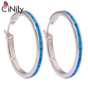 "CiNily Created Blue Fire Opal Silver Plated Earrings Wholesale Retail Fashion for Women Jewelry Earrings 1.5"" OH2519"