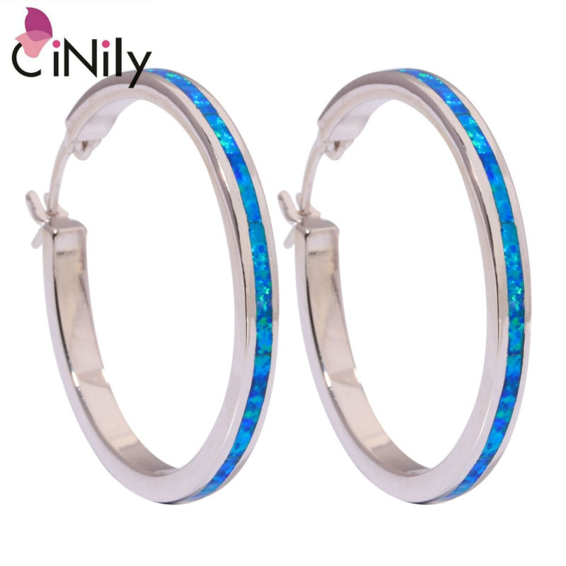 CiNily Created Blue Fire Opal Silver Plated Earrings Wholesale Retail Fashion for Women Jewelry Earrings 1.5