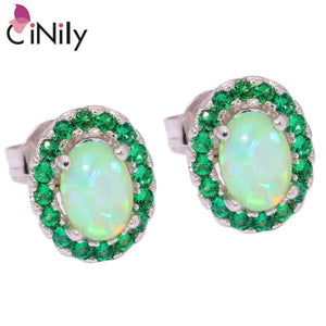 CiNily Created Green Fire Opal Green Quartz Silver Plated Earrings Wholesale Elegant for Women Jewelry Stud Earrings 10mm OH3772