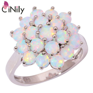 CiNily Created White Fire Opal Silver Plated Wholesale Hot Sell Wedding for Women Jewelry Gift Ring Size 7 8 9 OJ6956
