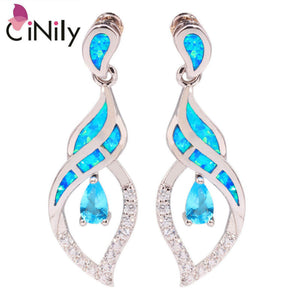 "CiNily Created Blue Fire Opal Blue Zircon Cubic Zirconia Silver Plated Wholesale for Women Jewelry Stud Earrings 1 1/8"" OH3098"