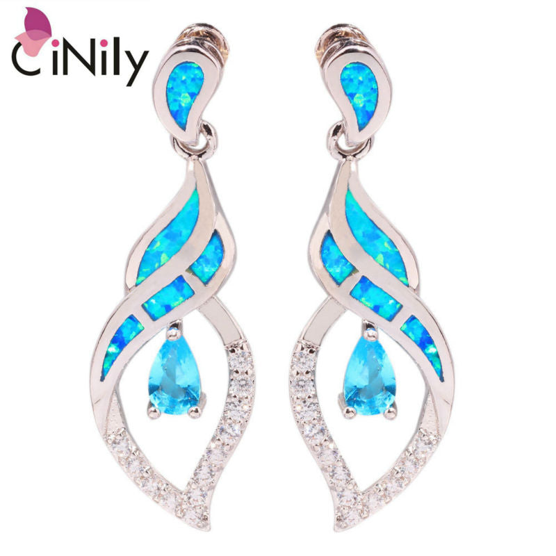 CiNily Created Blue Fire Opal Blue Zircon Cubic Zirconia Silver Plated Wholesale for Women Jewelry Stud Earrings 1 1/8