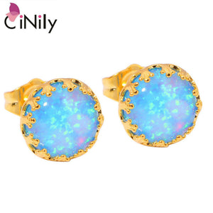 CiNily Created Blue Fire Opal Yellow Gold Color Wholesale Hot Sell for Women Fashion Jewelry Stud Earrings 8mm OH2482