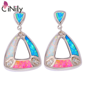 "CiNily Created White Blue Pink Fire Opal Cubic Zirconia Silver Plated Wholesale Women Jewelry Party Stud Earrings 7/8"" OH4150"