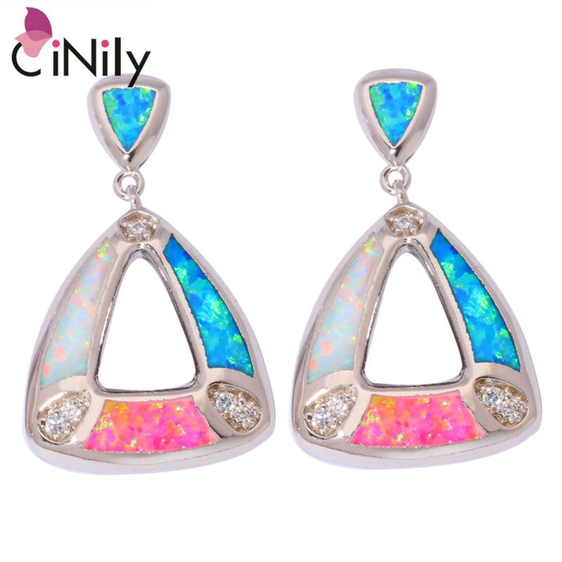 CiNily Created White Blue Pink Fire Opal Cubic Zirconia Silver Plated Wholesale Women Jewelry Party Stud Earrings 7/8
