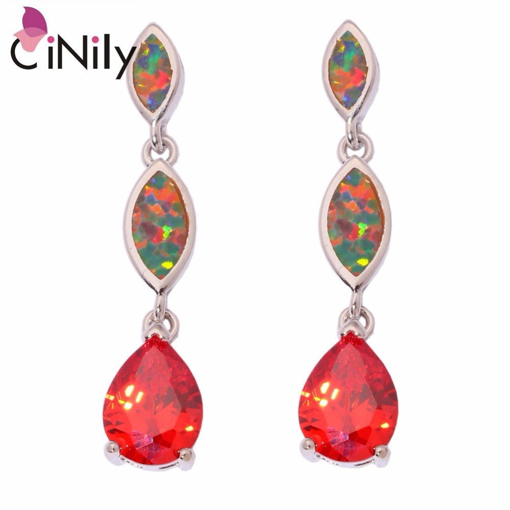 CiNily Created Orange Fire Opal Orange Garnet Silver Plated Earrings Wholesale for Women Jewelry Stud Earrings 1 1/4
