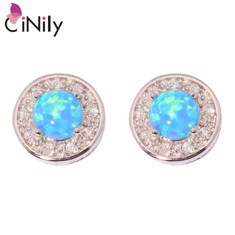 CiNily Created Blue Fire Opal Cubic Zirconia Silver Plated Wholesale Hot Sell for Women Jewelry Stud Earrings 10mm OH2809
