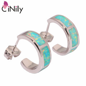 CiNily Created Green Pink Blue White Fire Opal Silver Plated Earrings Wholesale for Women Jewelry Stud Earrings 13mm OH3045-48