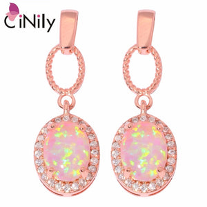 CiNily Created Pink Fire Opal Cubic Zirconia Rose Gold Color Wholesale for Women Fashion Jewelry Gift Stud Earrings 25mm OH4321