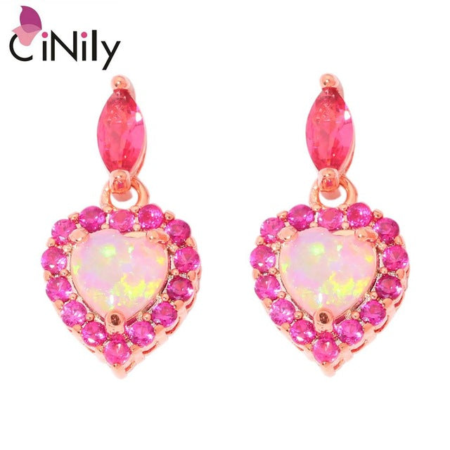 CiNily Created Pink Fire Opal Kunzite Rose Gold Color Wholesale Hot Heart for Women Jewelry Love Gift Stud Earrings 3/4