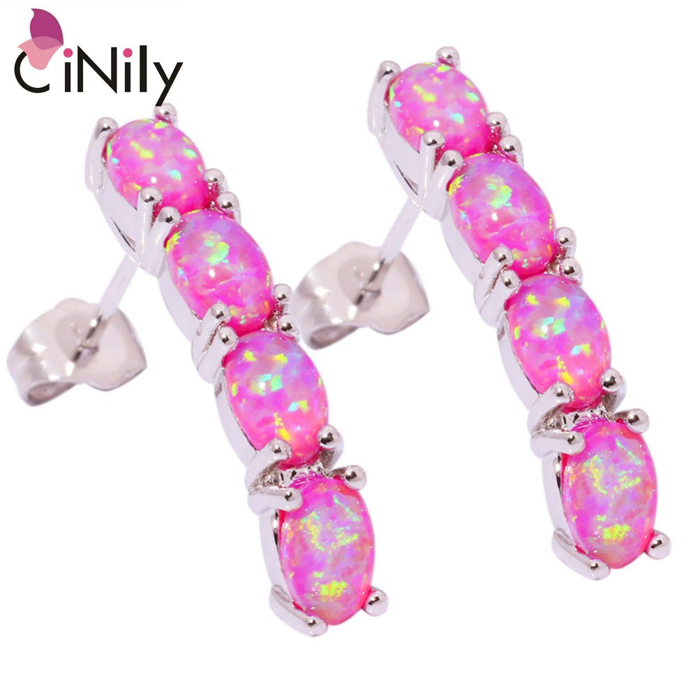 CiNily Created Pink Fire Opal Silver Plated Wholesale Retail Hot Sell Fashion Wedding For Women Jewelry Stud Earrings 1