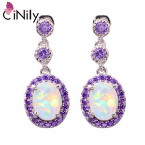 "CiNily Created White Fire Opal Purple Zircon Silver Color Wholesale Fashion Jewelry for Women Party Stud Earrings 7/8"" OH3805"