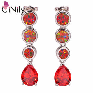 "CiNily Created Orange Fire Opal Orange Garnet Silver Plated Wholesale Hot Sell for Women Jewelry Stud Earrings 1 1/4"" OH3438"
