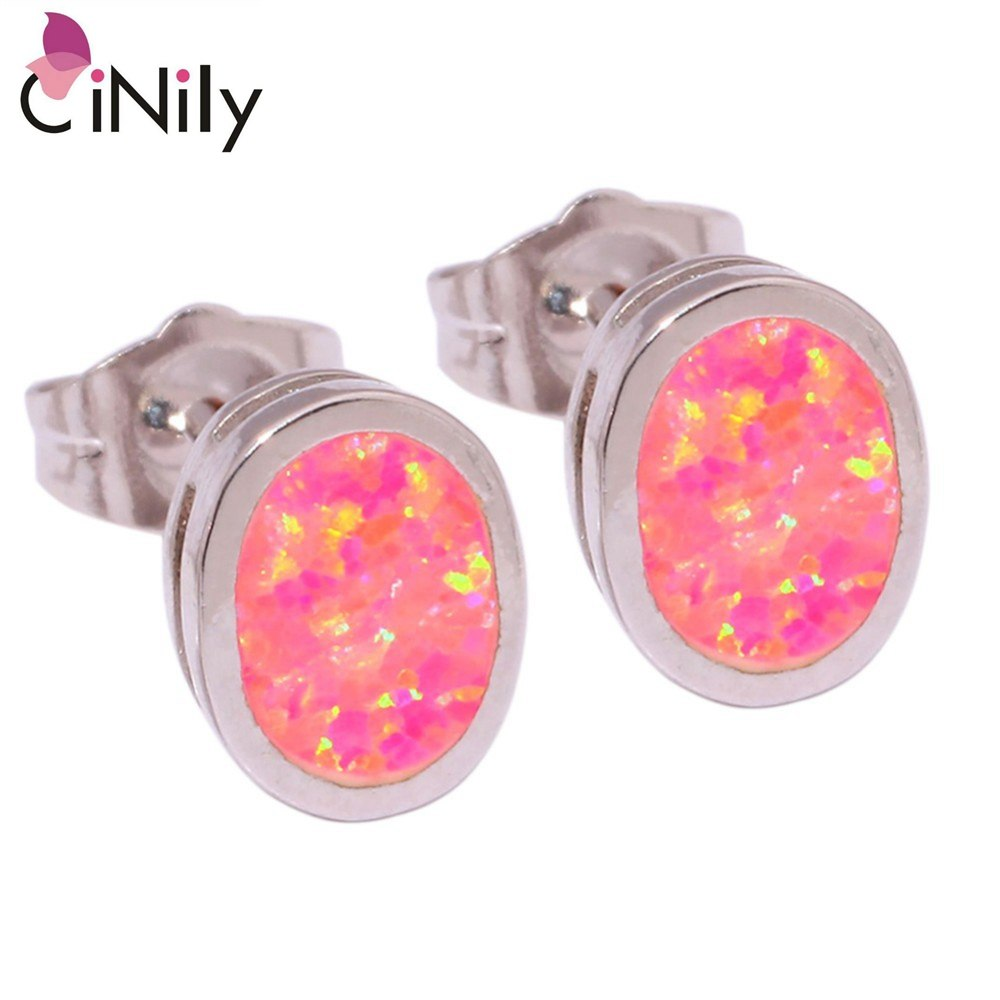 CiNily Created Pink Fire Opal Silver Plated Wholesale Hot Sell Fashion Wedding  for Women Jewelry Stud Earrings 7mm OH3130
