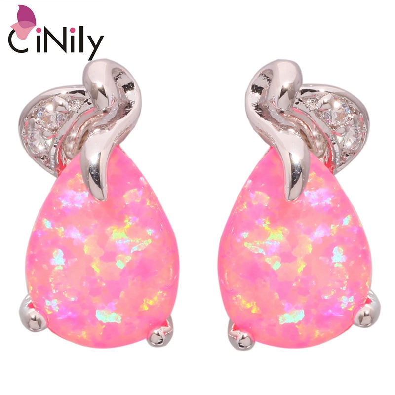 CiNily Created Pink Fire Opal Cubic Zirconia Silver Plated Wholesale Hot Sell for Women Jewelry Gift Stud Earrings 16mm OH3877