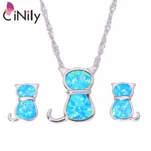CiNily Created Blue Fire Opal Silver Plated Wholesale for Women Jewelry Pendant With the Chain Stud Earrings Jewelry Set OT144