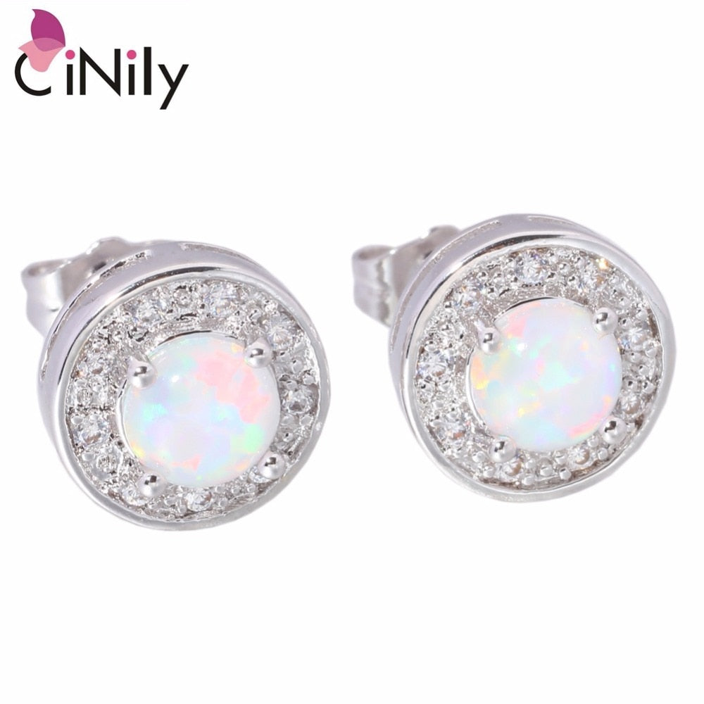 CiNily White Fire Opal Cubic Zirconia Silver Plated Wholesale Retail Hot Sell for Women Jewelry Stud Earrings 10mm OH1902