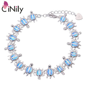 "CiNily Created Blue Fire Opal Silver Plated Wholesale Lovely Cute Tortoise for Women Jewelry New Year Gift Bracelet 8 7/8"" OS656"