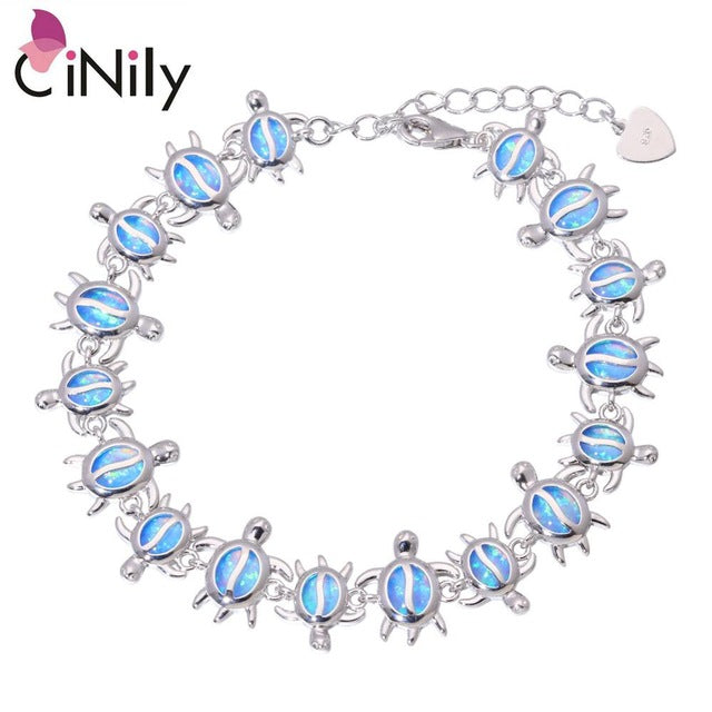 CiNily Created Blue Fire Opal Silver Plated Wholesale Lovely Cute Tortoise for Women Jewelry New Year Gift Bracelet 8 7/8