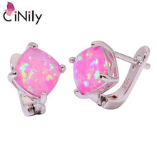 Load image into Gallery viewer, CiNily Created White Pink Fire Opal Silver Plated Wholesale Hot Sell Fashion for Women Jewelry Clip Earrings 15mm OH4270-71