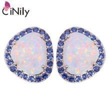 Load image into Gallery viewer, CiNily Created White Blue Fire Opal Blue Zircon Silver Plated Wholesale for Women Jewelry Stud Earrings 13mm OH4266-67