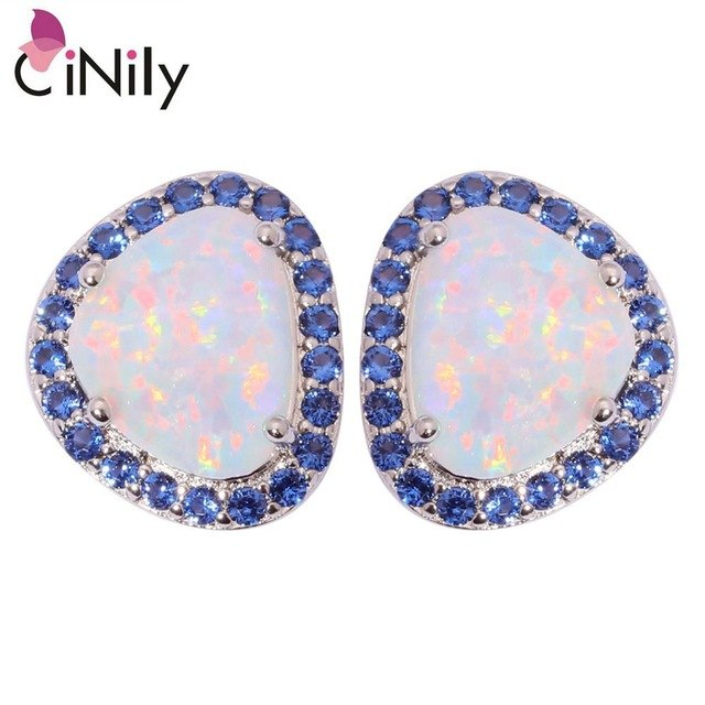 CiNily Created White Blue Fire Opal Blue Zircon Silver Plated Wholesale for Women Jewelry Stud Earrings 13mm OH4266-67
