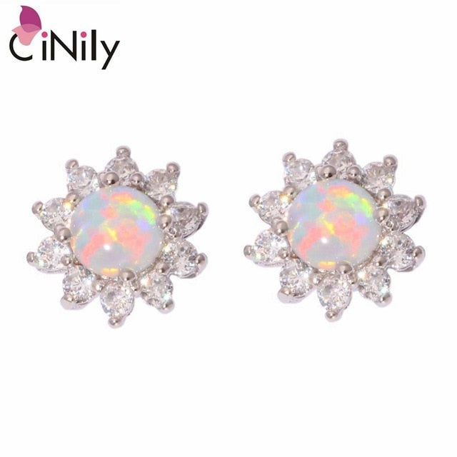 CiNily Created White Fire Opal Cubic Zirconia Silver Plated Earrings Wholesale Retail Women Jewelry Stud Earrings 12mm OH3448
