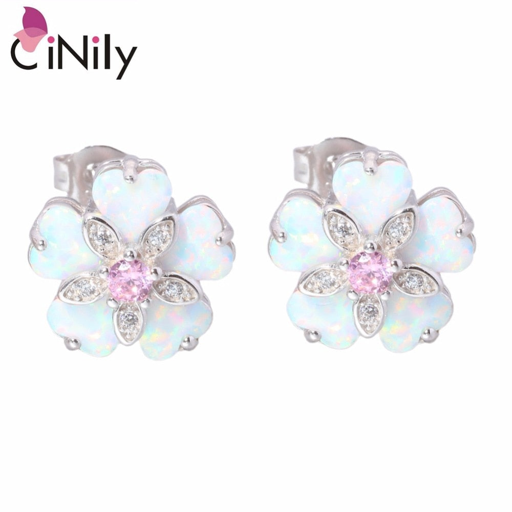 CiNily Created White Fire Opal Pink Zircon Cubic Zirconia .925 Sterling Silver Wholesale for Women Jewelry Stud Earrings SE012