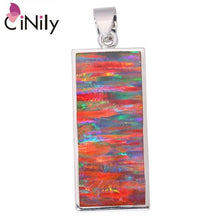 "Load image into Gallery viewer, CiNily Created Blue Orange Fire Opal Silver Plated Wholesale Fashion Jewelry for Women Christmas Gift Pendant 1 3/8"" OD6708-09"