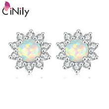 Load image into Gallery viewer, CiNily Created White Fire Opal Cubic Zirconia Silver Plated Earrings Wholesale Retail Women Jewelry Stud Earrings 12mm OH3448