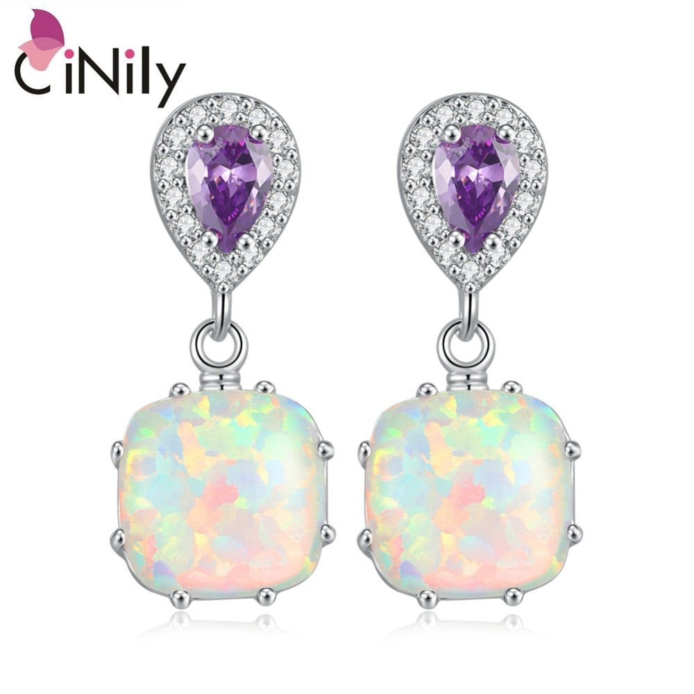 CiNily Created White Fire Opal Purple Zircon Cubic Zirconia Silver Color Wholesale for Women Jewelry Stud Earrings OH3499