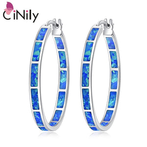 "CiNily Created Blue Fire Opal Wholesale Hot Sell Wedding Party for Women Jewelry Gift Silver Plated Earrings 1 3/8"" OH2515"