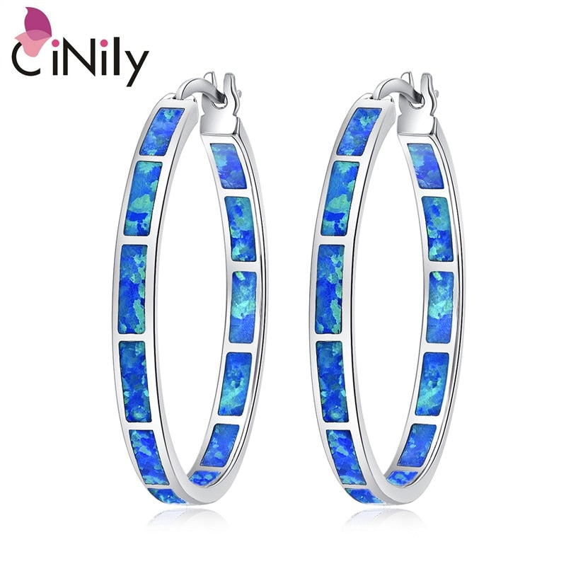 CiNily Created Blue Fire Opal Wholesale Hot Sell Wedding Party for Women Jewelry Gift Silver Plated Earrings 1 3/8