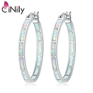 "CiNily Created White Fire Opal Silver Plated Wholesale Hot Sell Fashion Wedding for Women Jewelry Hoop Earrings 1 1/4"" OH4109"