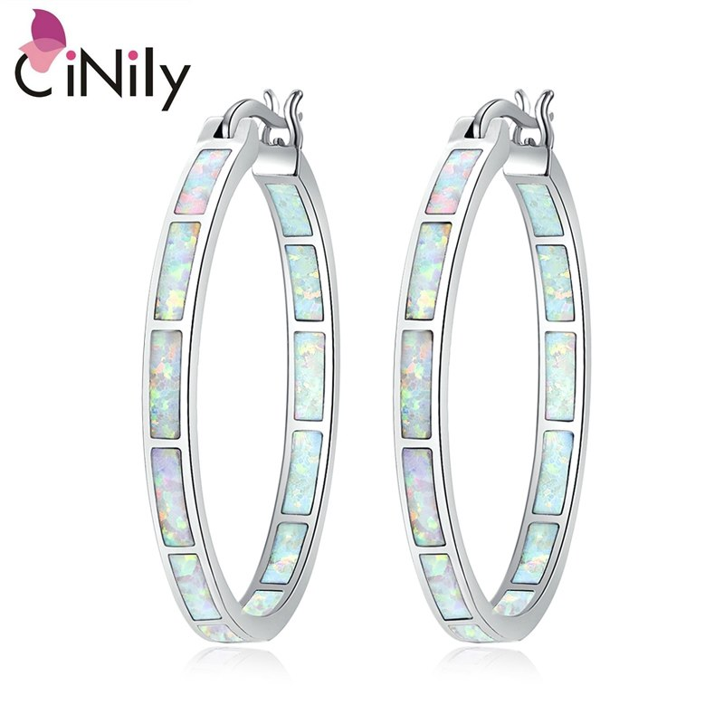 CiNily Created White Fire Opal Silver Plated Wholesale Hot Sell Fashion Wedding for Women Jewelry Hoop Earrings 1 1/4