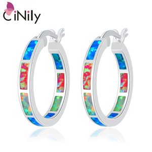 "CiNily Created Blue White Pink Fire Opal Silver Plated Earrings Wholesale Retail Hot for Women Jewelry Earrings 7/8"" OH3033"