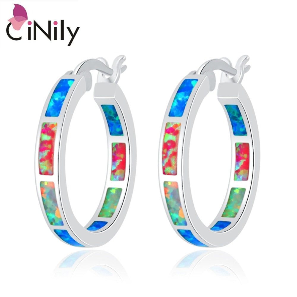 CiNily Created Blue White Pink Fire Opal Silver Plated Earrings Wholesale Retail Hot for Women Jewelry Earrings 7/8