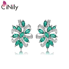 "Load image into Gallery viewer, CiNily 100% 925 Sterling Silver Created Green Blue Stone Cubic Zirconia Wholesale for Women Jewelry Clip Earrings 7/8"" SE039-40"