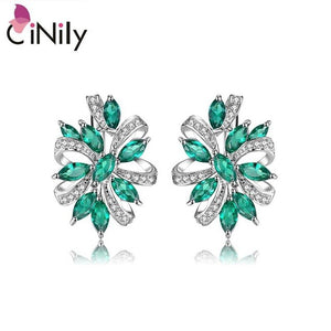 "CiNily 100% 925 Sterling Silver Created Green Blue Stone Cubic Zirconia Wholesale for Women Jewelry Clip Earrings 7/8"" SE039-40"