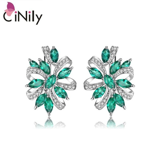 CiNily 100% 925 Sterling Silver Created Green Blue Stone Cubic Zirconia Wholesale for Women Jewelry Clip Earrings 7/8