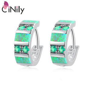 "CiNily Created Green Fire Opal Green Quartz Silver Plated Earrings Wholesale Fashion for Women Jewelry Hoop Earrings 3/4"" OH3920"