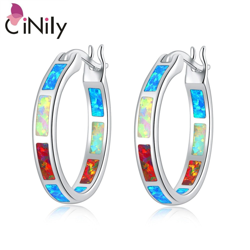 CiNily Created White Orange Blue Fire Opal Silver Plated Earrings Wholesale Retail for Women Jewelry Earrings 7/8