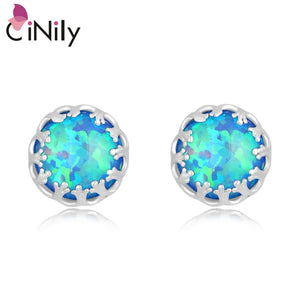 CiNily Created Blue Fire Opal Silver Plated Wholesale Hot Sell Wedding for Women Jewelry Gift Stud Earrings 8mm OH2485