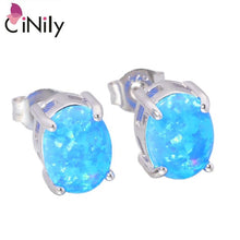 Load image into Gallery viewer, CiNily Created Blue White Fire Opal 8x6mm Authentic .925 Sterling Silver Wholesale for Women Jewelry Stud Earrings SE013-14