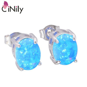 CiNily Created Blue White Fire Opal 8x6mm Authentic .925 Sterling Silver Wholesale for Women Jewelry Stud Earrings SE013-14